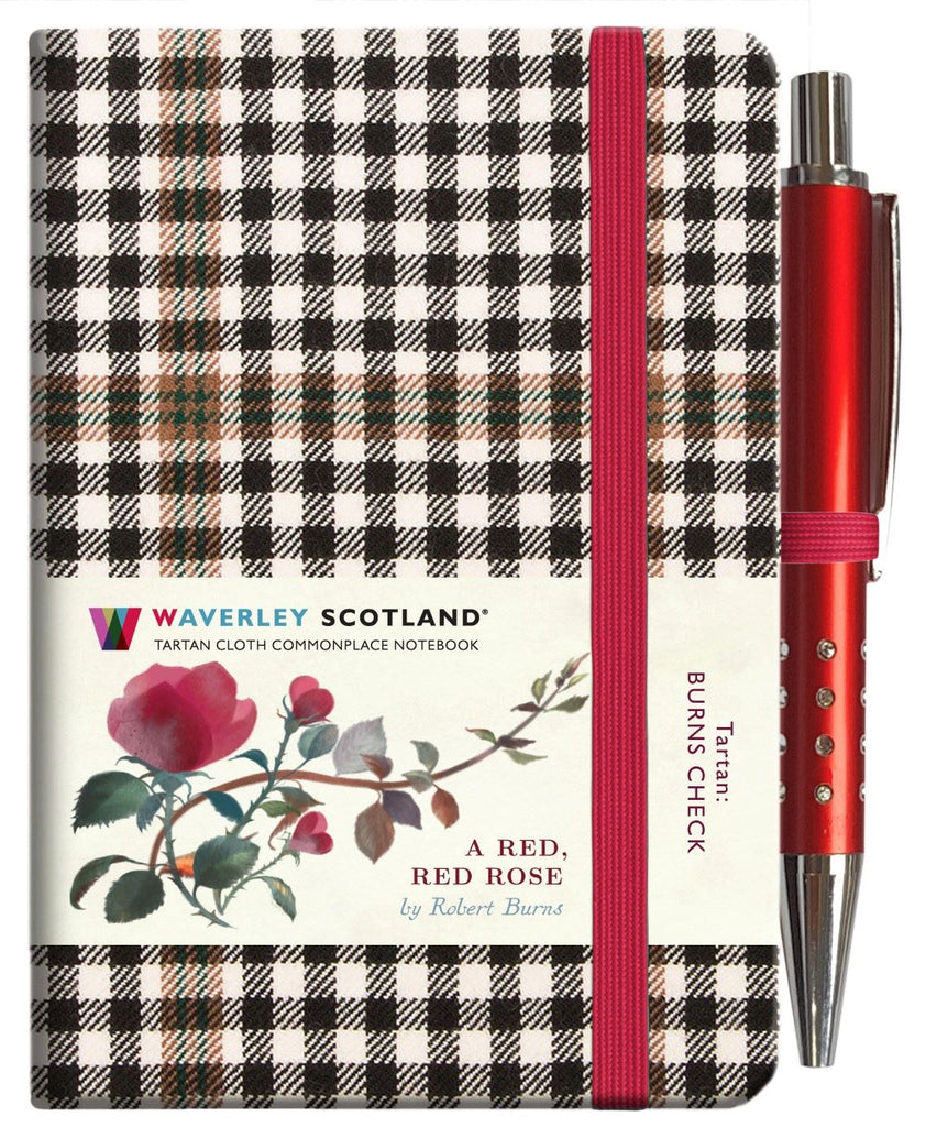 Mini Tartan Notebook With Pen - Red, Red Rose