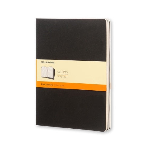 Moleskine XL Cahier Ruled Journals Set of 3 Black