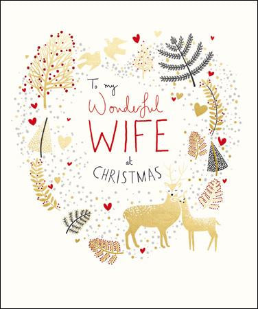 Wife Xmas Foliage Christmas Card