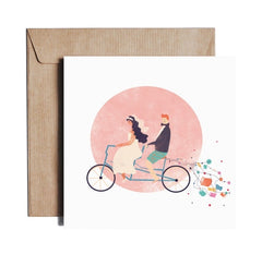 Just Married Bicycle Card