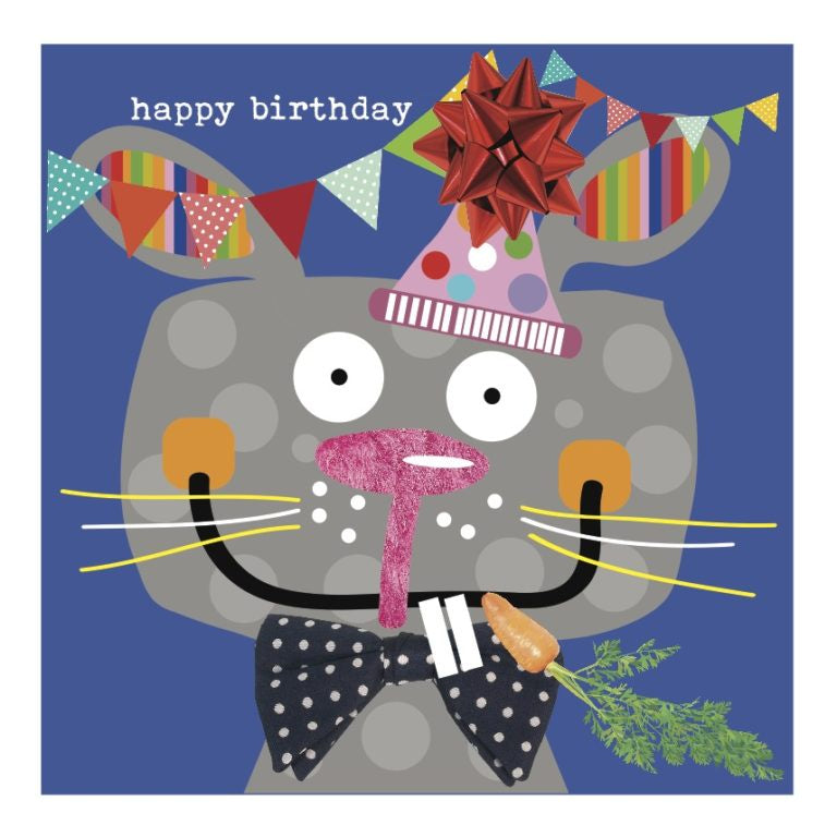 Colourful Rabbit Happy Birthday Card