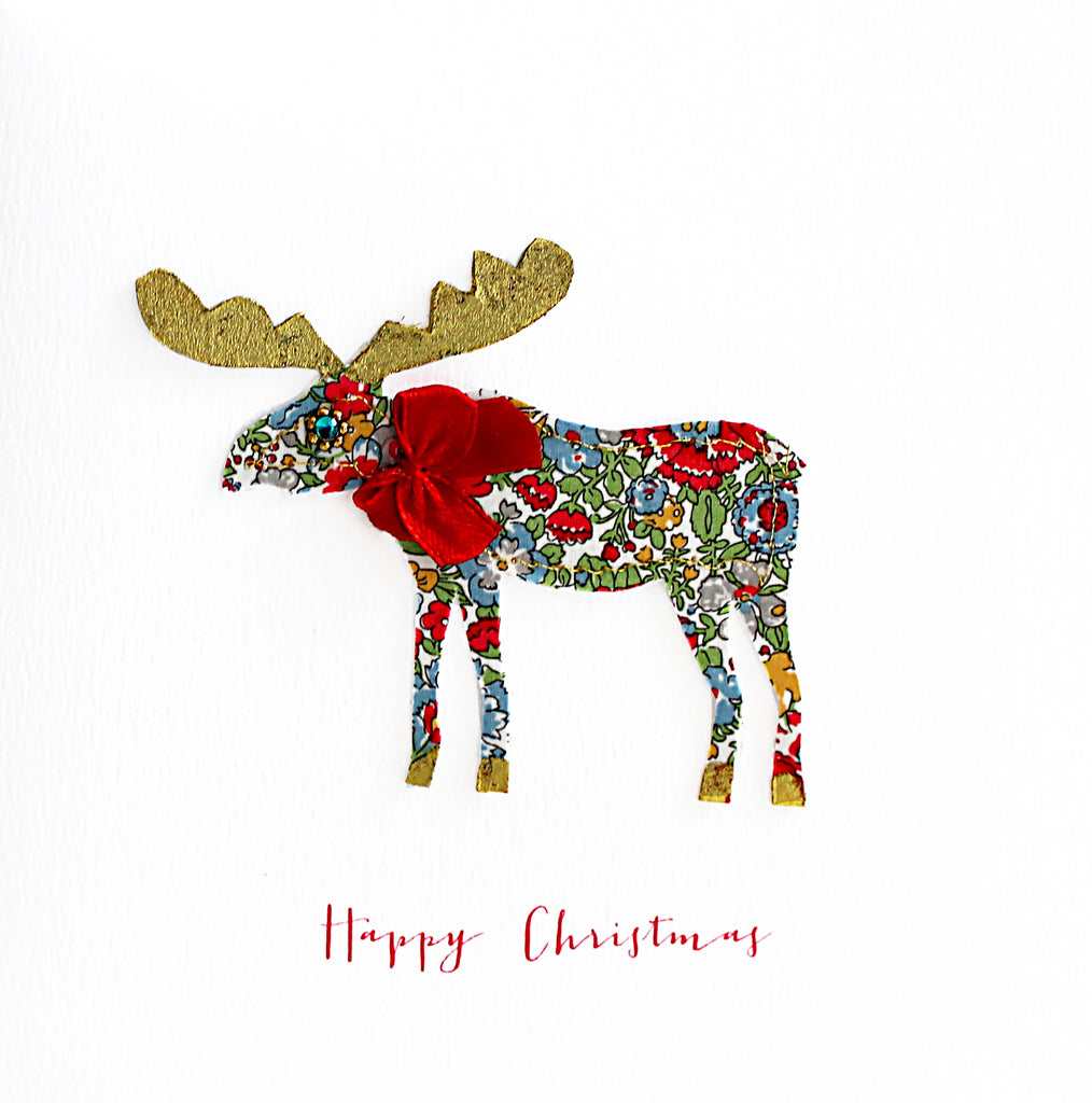 Fabric Moose Christmas Card