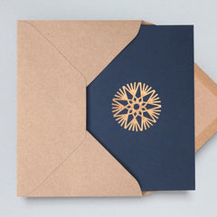 Ornament Navy & Rose Gold Christmas Card