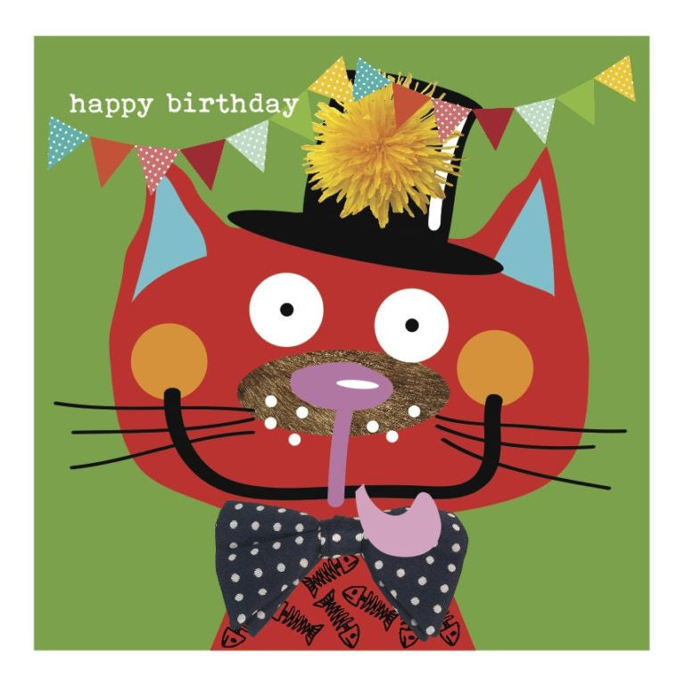 Colourful Red Cat Happy Birthday Card