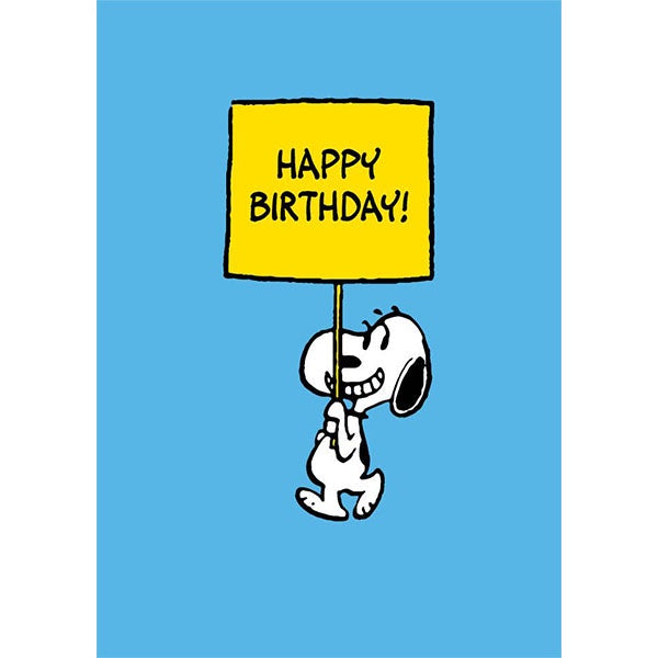 Happy Birthday Snoopy Sign Card