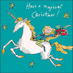 Girl Riding A Unicorn Christmas Card
