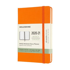 Moleskine 2020/21 Cadmium Orange Academic Pocket Diary Hard Cover