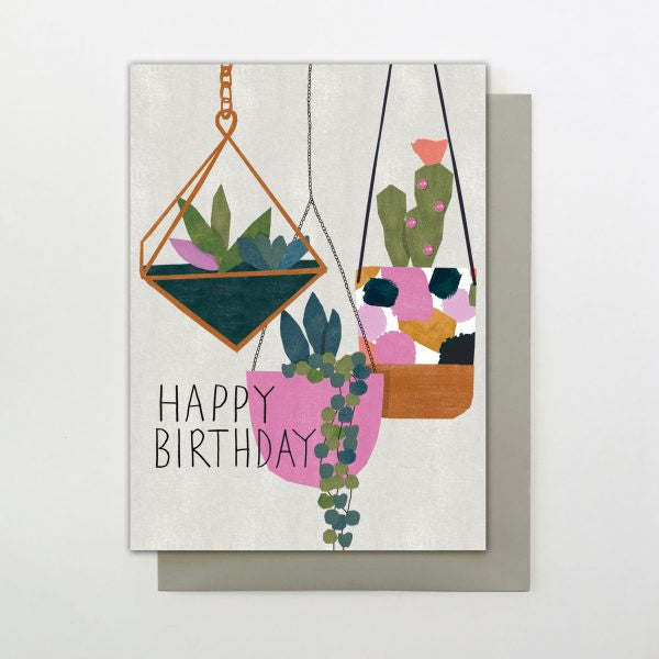 Hanging Plants Happy Birthday Card