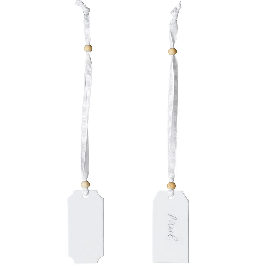 White Porcelain Place Tags Set of 2