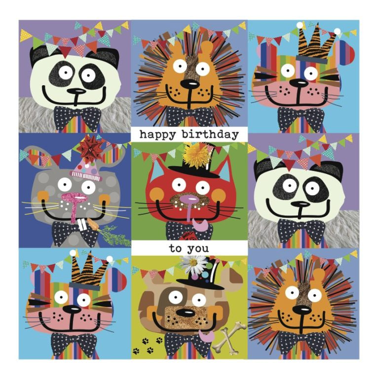Colourful Party Animals Happy Birthday Card