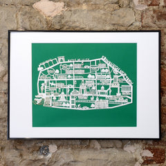 Lasercut A2 Edinburgh New Town Map - White on Green