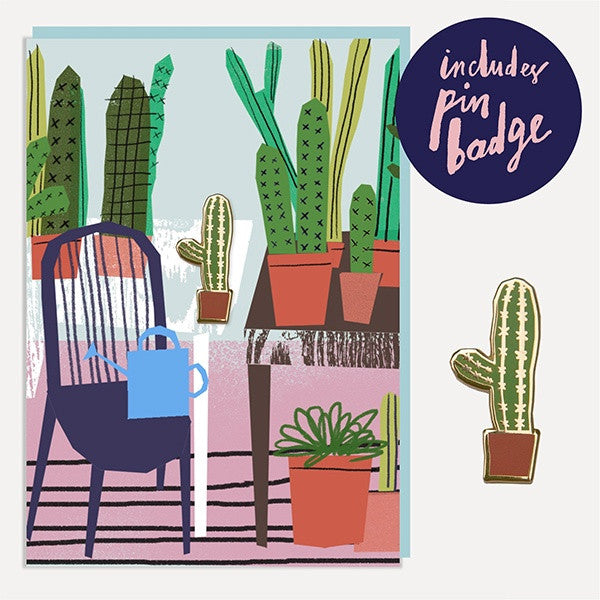 Cactus Glass Room Enamel Pin Badge Card