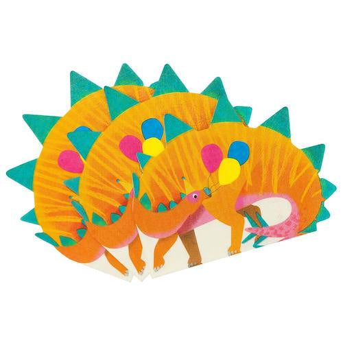 Pack of 16 Dinosaur Shaped Napkins