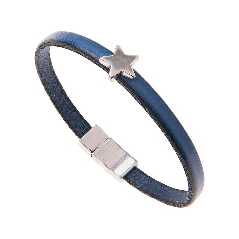 Carrie Elspeth Blue Leather Charm Bracelet with Star
