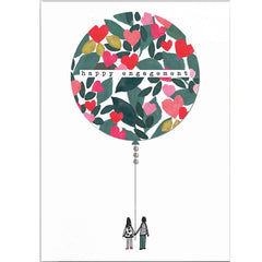 Happy Engagement Balloon Couple Card