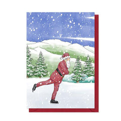 Tartan Santa Ice Skating Christmas Card