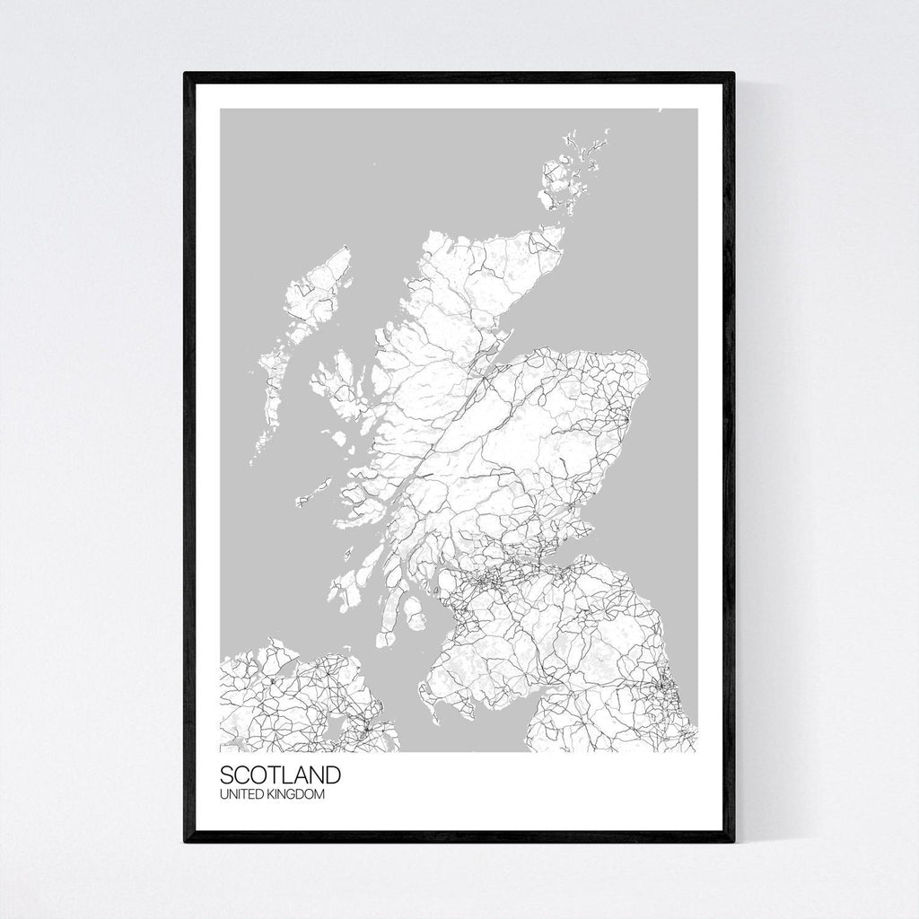 Scotland A3 White, Grey and Black Map Print in Tube