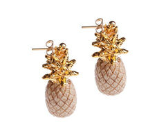 Hand Painted Drop Beige and Gold Pineapple Earrings