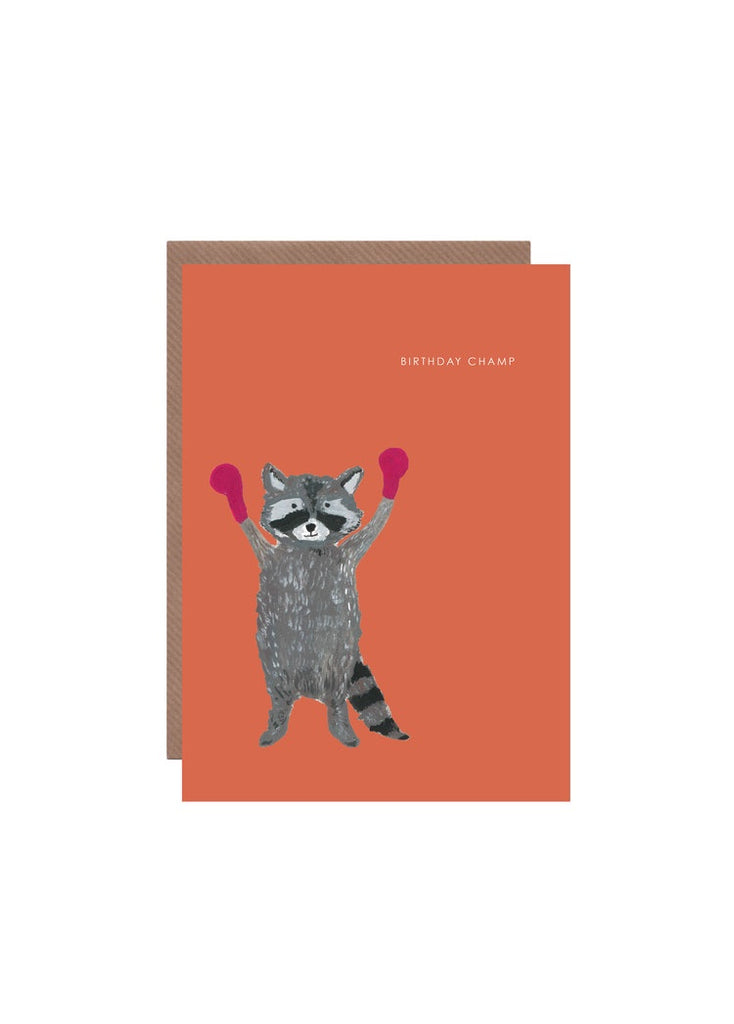 Raccoon Champ Birthday Card