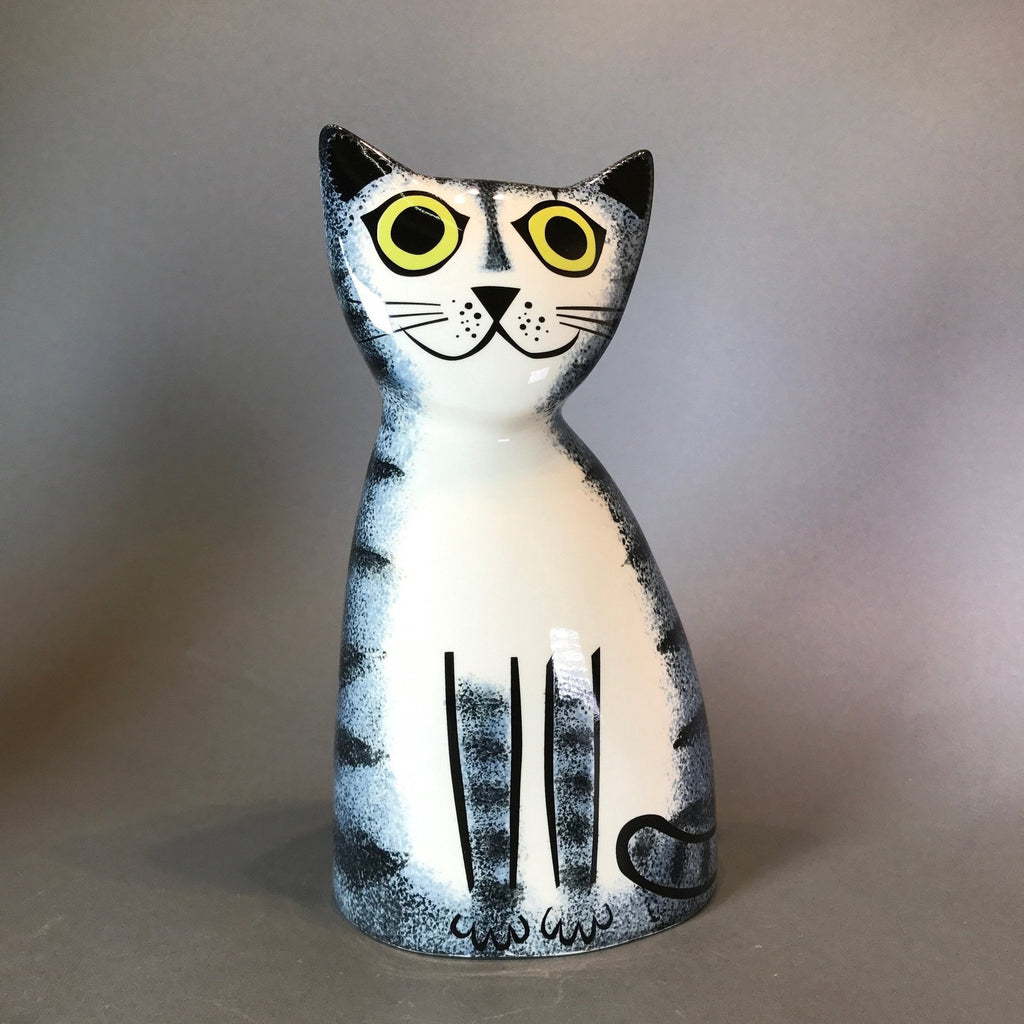 Ceramic Grey Tabby Cat Money Box