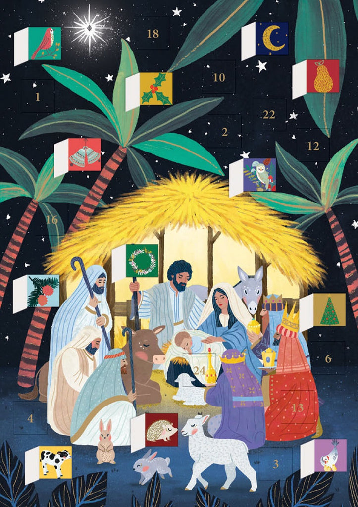 Away In A Manger Advent Calendar Card