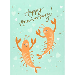 Happy Anniversary Lobsters Dancing Card
