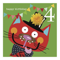 Colourful Cat 4th Birthday Card