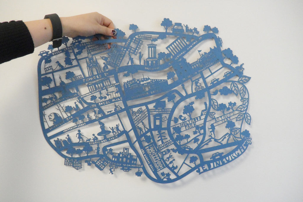 Edinburgh A2 Lasercut Map in Tube - Navy