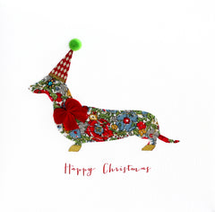 Fabric Dachshund Happy Christmas Card