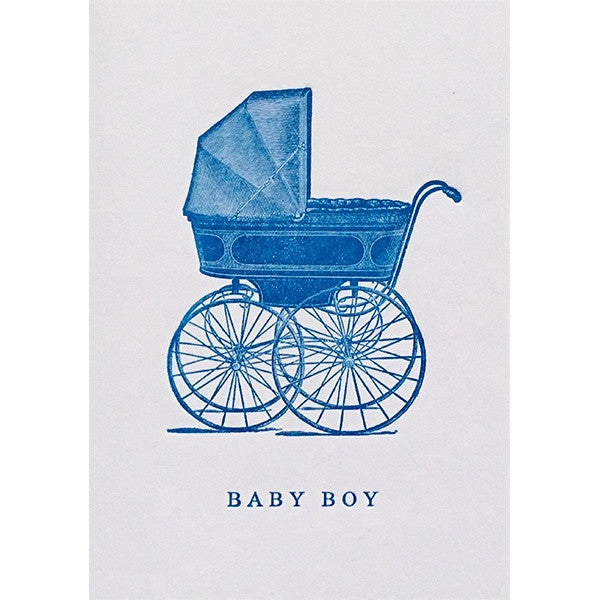 Baby Boy Blue Pram Card