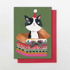 Happy Christmas Cat In A Gift Box Card