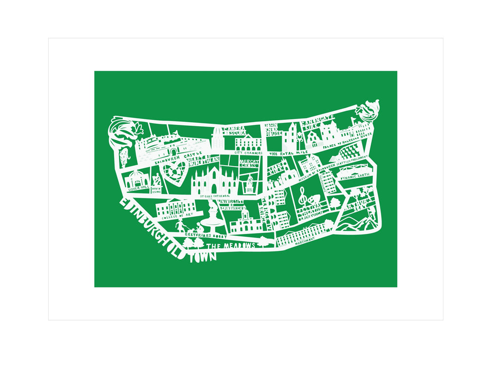 Lasercut A4 Edinburgh Old Town Map - White on Green