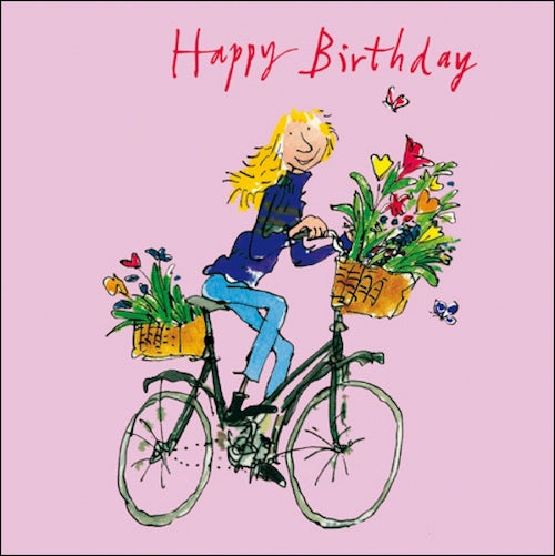 Girl Cycling Quentin Blake Birthday Card