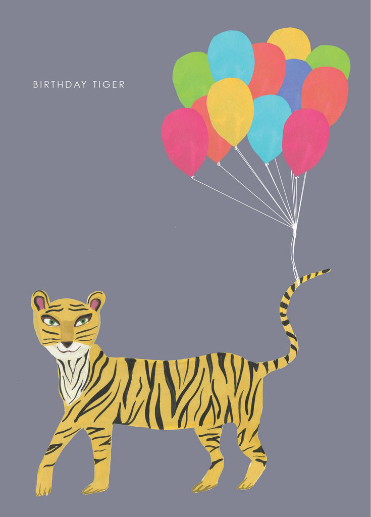 Birthday And Balloons Tiger Card