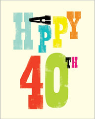 40th Birthday Ink Press Card