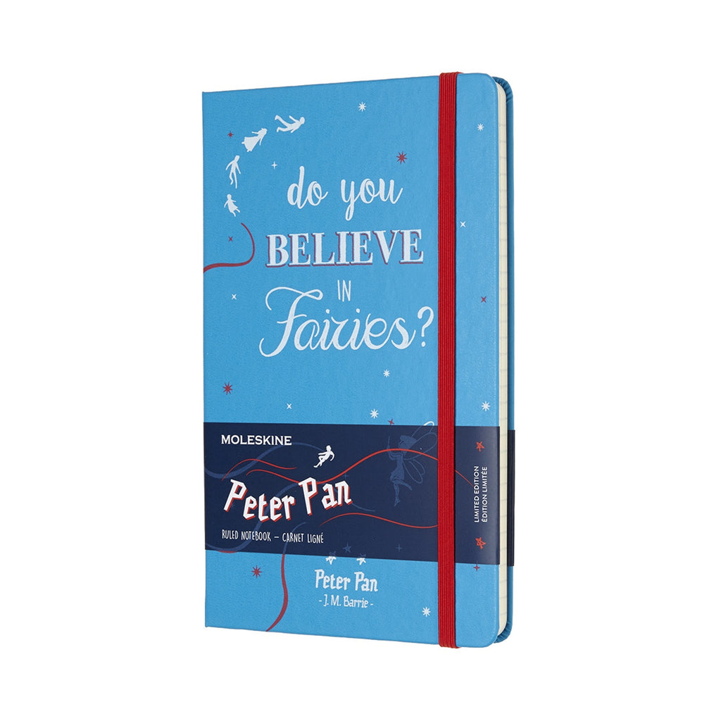 Limited Edition Peter Pan Large Ruled Moleskine Notebook Cerulean Blue