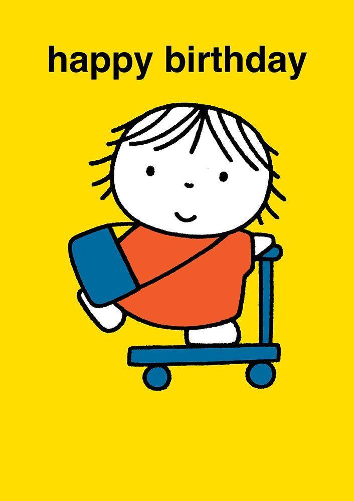 Dick Bruna Happy Birthday Scooter Card