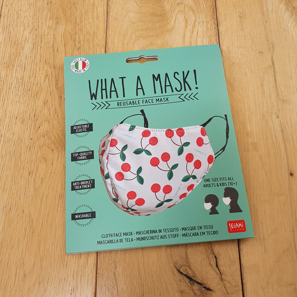 What A Mask!  Reusable Face Mask - Cherry Design