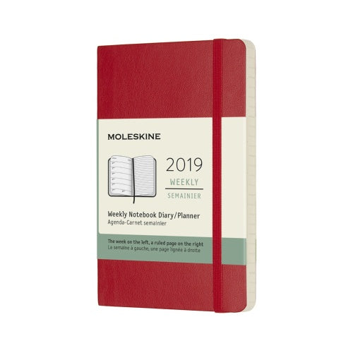 2019 Moleskine Weekly Pocket Planner Hardcover Scarlet Red