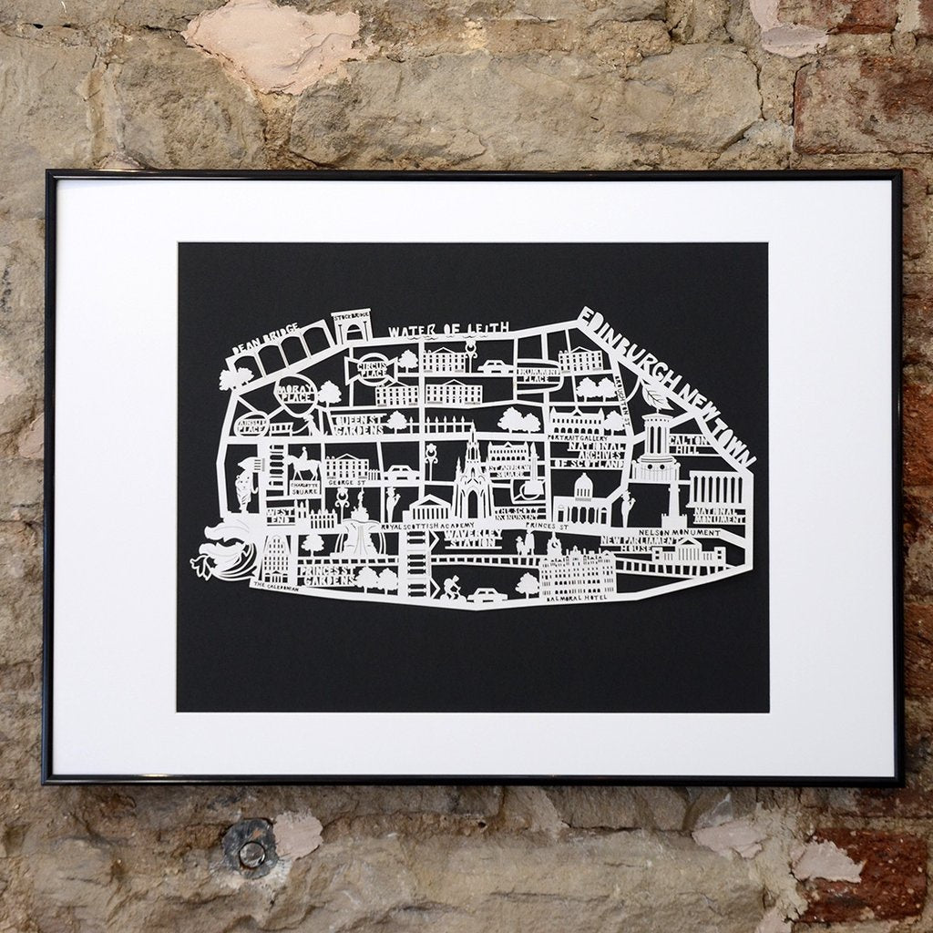 Lasercut A4 Edinburgh New Town Map - White on Black