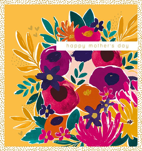 Yellow Floral Mothers Day Card