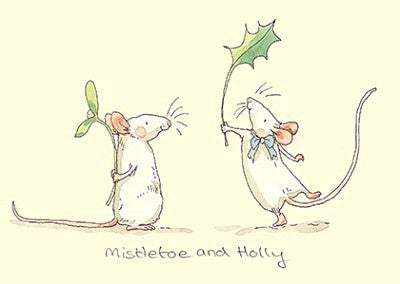 Mistletoe And Holly Christmas Card