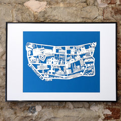 Lasercut A2 Edinburgh Old Town Map - White on Blue