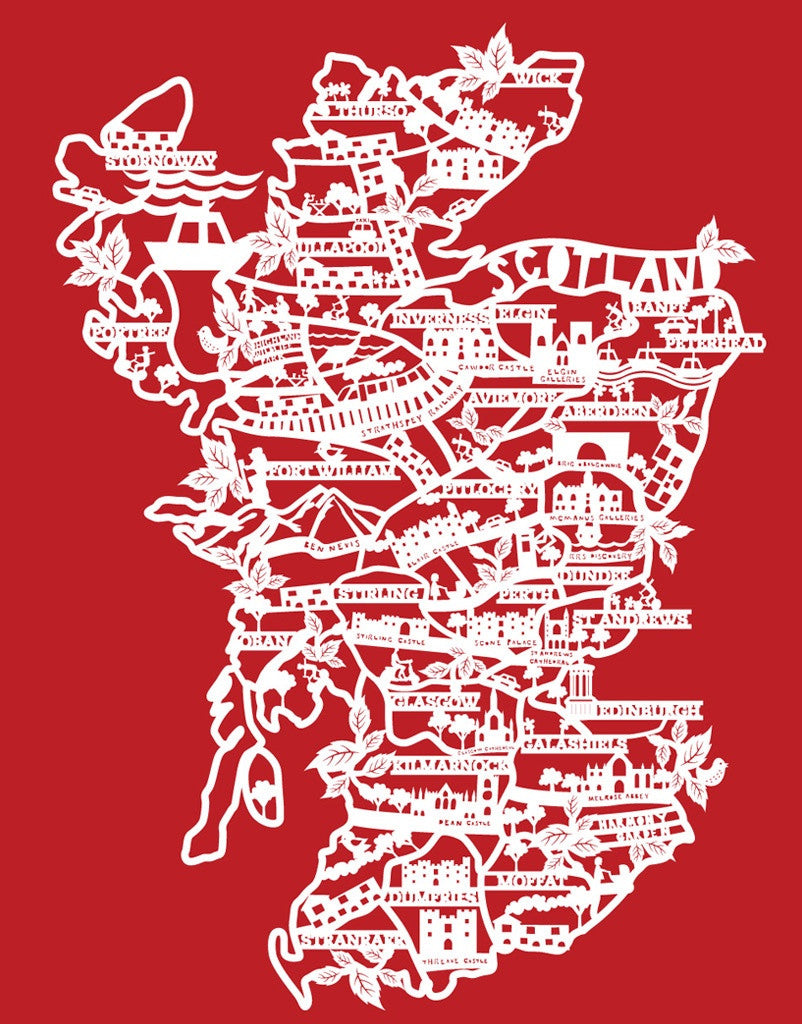 Lasercut A4 Scotland - White On Red