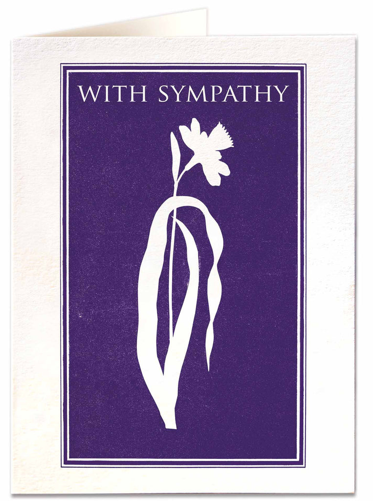 Purple With Sympathy Letterpress Card