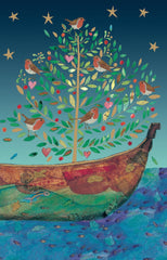 Robin Tree On Boat Christmas Card Pack