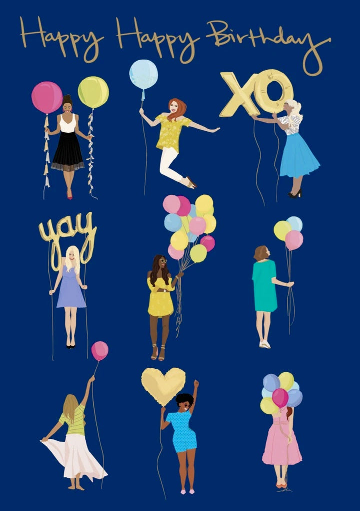 Nine Girls With Balloons Birthday Card