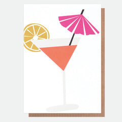 Cocktail with Umbrella and Lemon Card