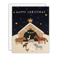 Happy Christmas Nativity Scene Mini Pack of 5 Cards