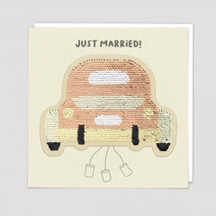 Just Married Car Sequin Patch Card